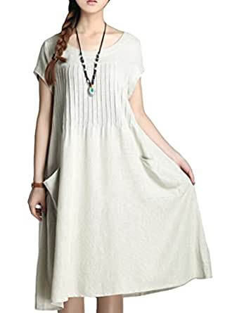 Minibee Women's Summer Solid Color Dress with Two Pockets Style 1 Beige-M
