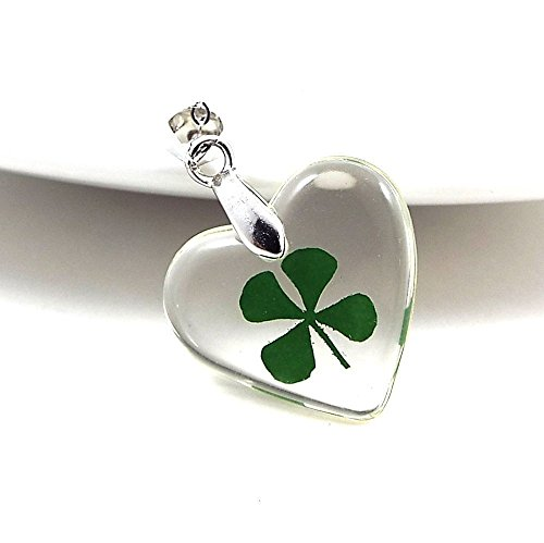 Four Leaf Clover Necklace Lucky St. Patrick's Day Real Shamrock In Acrylic Heart Good Luck ()