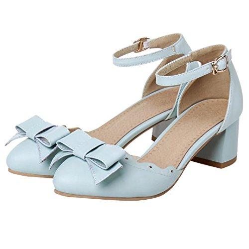 AIYOUMEI Damen Knöchelriemchen Pums mit Schleife und 5cm Absatz Blockabsatz Süße Schuhe Blau