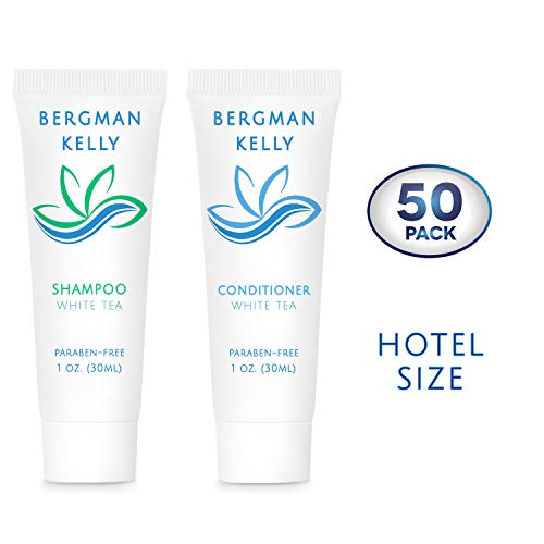 (BERGMAN KELLY Travel Shampoo and Conditioner Set (1 Fl Oz, 50 Pack, White Tea), Delight Your Guests with a Revitalizing and Refreshing Hotel Toiletries and Gest Hospitality in Bulk)