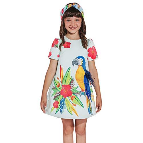 Dress For Girl,Freesa Toddler Kid Baby Girl Short Sleeve Floral Cartoon Printed Princess Dress Clothes 12M-4Y Children'S Short Sleeve Cartoon Parrot Bird Flower Feather Dress ()