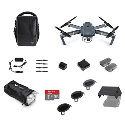 DJI Mavic Pro - Fly More Combo - Bundle With 64GB MicroSDXC Card, DJI ND Filter Set, DJI Aircraft Sleeve, DJI Remote Controller Monitor Hood