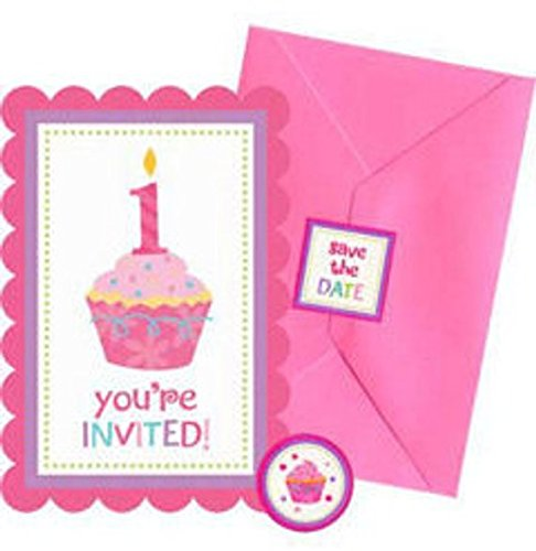 Sweet Little Cupcake Girl 1st Birthday Invitations, Seals and Save the Date Stickers- 20 ct ()