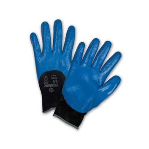 Price comparison product image West Chester 715SNC / L Blue Flat Nitrile 3 4 Dip on Black Nylon Shell,  Large (Pack of 12)