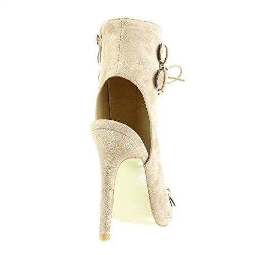 Angkorly - Scarpe da Moda Stivaletti - Scarponcini sandali stiletto aperto donna fibbia metallico Tacco Stiletto tacco alto 12 CM - Beige