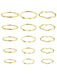 Jstyle 15 Pieces Stainless Steel Stacking Rings for Women Girls 1MM Thin Midi Knuckle Finger Rings Plain Band Comfort Fit Size 3 to 10
