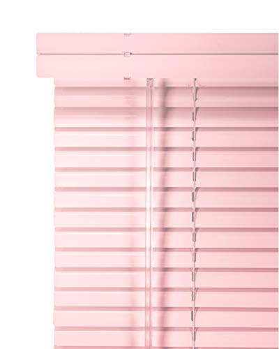 CHICOLOGY Custom Made Corded 1-Inch Aluminum Mini Blind, Blackout Horizontal Slats, Inside Mount, Room Darkening Perfect for Kitchen/Bedroom/Living Room/Office and More: 32″ W X 42″ H, Pink