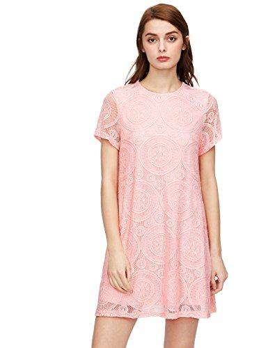 Romwe Women's Short Sleeve Summer Lace Wide Hem Dress Pink S