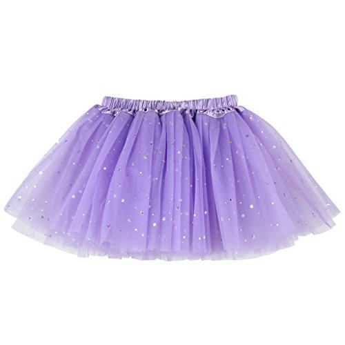 Buenos Ninos Girl's 3 Layers Sequin Ballet Dance Skirt with Sparkling Stars Dress-up Tutu Lavender