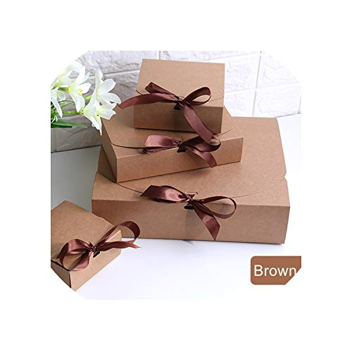Gift Boxes with Ribbon,Wedding Favor Boxes,Baby Shower Favor Boxes,Party Gift Boxes 20Pcs/Lot,Brown,14X14X5Cm