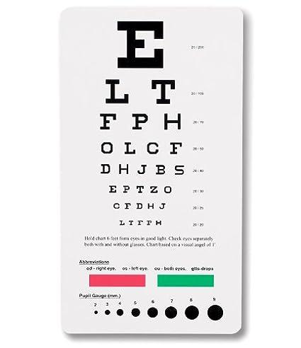 Amazon Prestige Medical 3909 Snellen Pocket Eye Chart