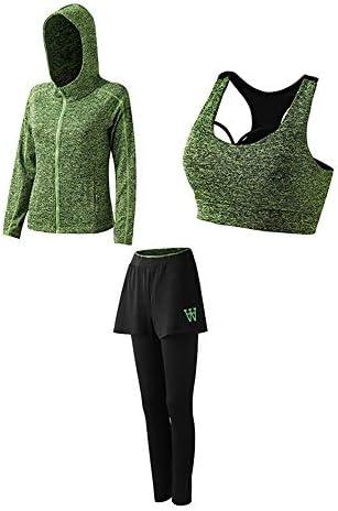 レディースジャージ上下セット 女性3ピースセットジムヨガ布スポーツラップクロップタンクトップブラジャーとハイウエストレギンスワークアウトスーツ (Color : Green, Size : XXXL)