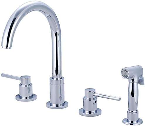 Pioneer 2MT201-SS Two Handle Kitchen Widespread Faucet, PVD Stainless Steel Finish