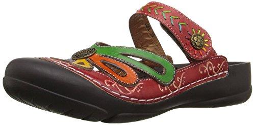 L'artiste by Spring Step Women's Copa Flat Sandal, Red/Multi, 41 EU/9.5-10 M US