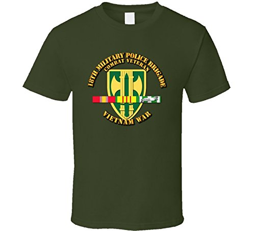LARGE - Army - 18th MP Bde - Vietnam War w SVC Ribbons T shirt - Military Green ()