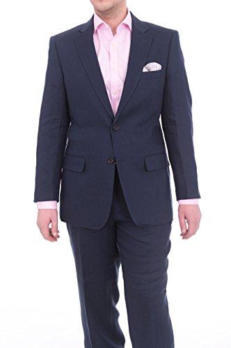Arthur Black Mens Slim Fit Solid Navy Blue Two Button Half Lined Linen Suit