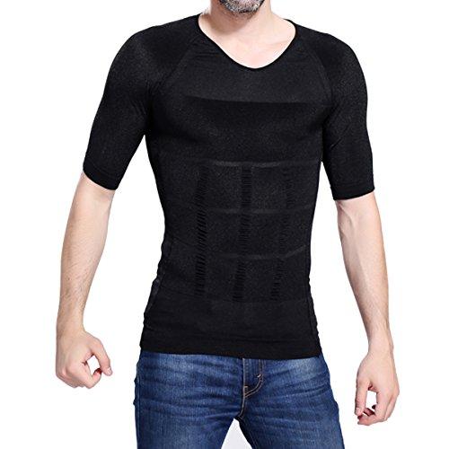 Mens Girdle (Haseil Men's Undershirt Muscle Slimming Burn Fat Abdomen Girdle Compression Shirt, Black, TagsizeXXL=USsizeL)
