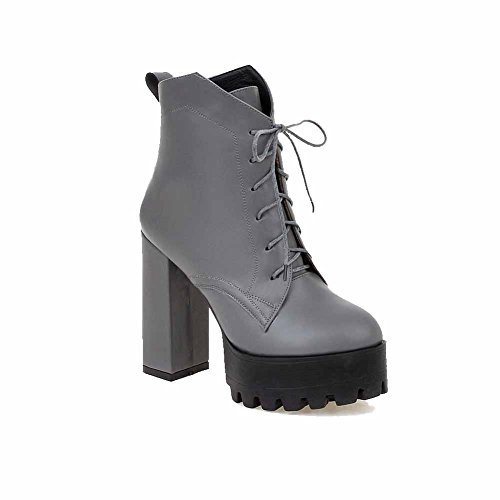 Heels Solid High Gray Round Top Allhqfashion Boots Closed Women's Low Toe 1x40A8wqI