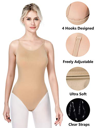 MOLLDAN Women Undergarments for Girls Dance Ballet Leotard Camisole Seamless Dancewear Beige Adult Gymnastics Underwear with Clear Straps (Adult S/M) -