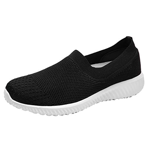 Toponly Women Breathable Loafers Comfortable Sneakers Round Toe Platform Flat Heel Casual Walking Shoes Black