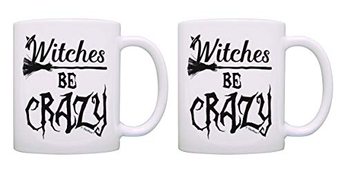 Witch Gifts Witches Be Crazy Halloween Mug Set Pun Mug Set 2 Pack Gift Coffee Mugs Tea Cups White