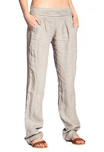 CASPAR KHS020 Damen Leinen Hose , Farbe:beige;Größe:36 S UK8 US6
