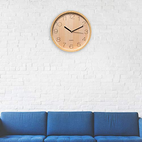 Wooden Design Wall Clock Quartz Quality Analogue Wall Clock Silent Non-Ticking with Beautiful Design Premium Quality Battery Operated for Home Office or School