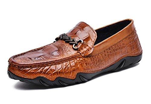 Zapatos de Barco de los Hombres Mocasines Cuero Brillante Superficie Texturizada Caucho Suela de Cuero Cara 363 Yellow