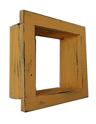Square Wood / Wooden Shadow Box Display - 9'' x 9'' - Peach - Decorative Reclaimed Distressed Vintage Appeal by IGC