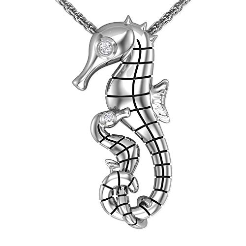 Belinda Jewelz Women 925 Sterling Silver Seahorse Sea Life Ocean Beach Vintage Gemstone Jewelry Fine Fashion Accessory Hanging Pendant Necklace, 0.015 Carat White Diamond, 18 Inch -