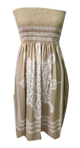 Strapless Ethnic Sexy Boho Khaki Dress Casual Bandeau Dress Beach Jaycargogo Tube Women UwS5qxwg