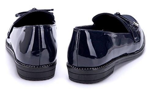 Schuhtempel24 Damen Schuhe Halbschuhe Flach Zierschleife 2 cm Blau