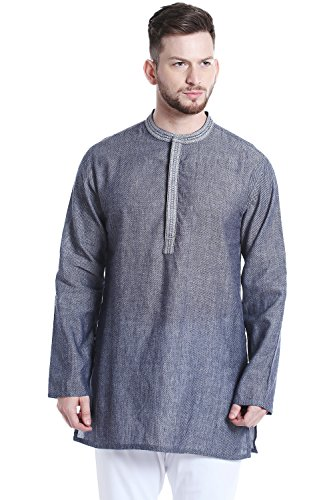 Shatranj Men's Mandarin Collar Classic Mid-Length Kurta Tunic with Space Dye; Denim Blue; LG by Shatranj