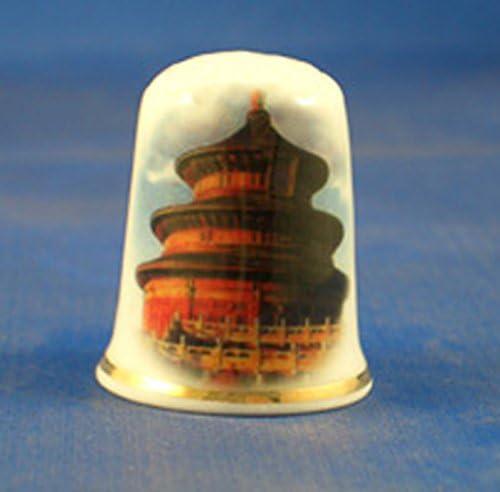 Porzellan Sammlerst/ück Fingerhut China Himmelstempel