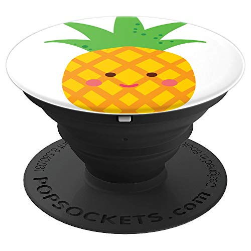 Cute Happy Pineapple - Cute Food, Fruit and Veg - PopSockets Grip and Stand for Phones and Tablets ()