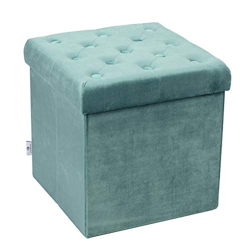 (B FSOBEIIALEO Storage Ottoman Velvet Tufted Folding Ottomans Footstool Rest Seat with Removable Lid (Teal,)