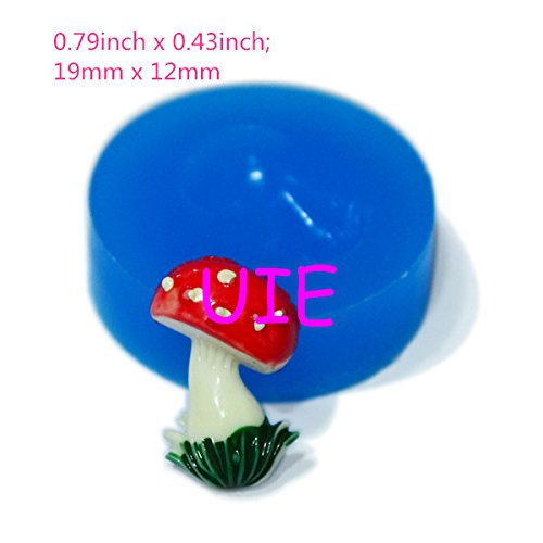 006LBV Mushroom Flexible Silicone Mold Clay Push Mold Jewelry Bead Mold Polymer Clay Charms (Clay Fimo Resin Wax Epoxy Paste) ()