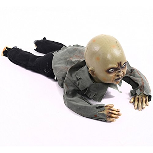 Amosfun Halloween Crawling Zombie Creeping Zombie Props Horror Bloody Haunted House Yard Scary Decorations With Battery Operated -
