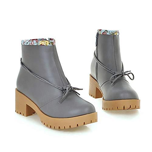 IWxez Damenmode Stiefel PU (Polyurethan) Herbst & Winter Stiefel Chunky Heel Round Toe Stiefelies Stiefeletten Bowknot Schwarz Grau Braun
