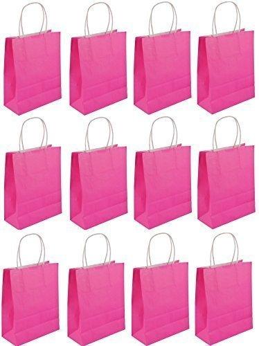 Julymall 12 bolsas de neón rosa con asas para regalos de ...