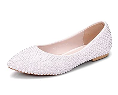 Minishion Womens Poited Toe Pearl Beading Bridal Wedding Flats Comfortable Dress Shoes lovely