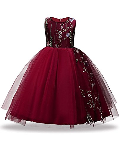 Knee Length Dress Girls Plus Size 11 12 7-16 Junior Flower Girl Dresses For Wedding Party Pageant Special Playwear Sleeveless Big Flowy First Communions Sundress Tank Lace (Burgundy, 160) - Holiday Party Suits Dresses