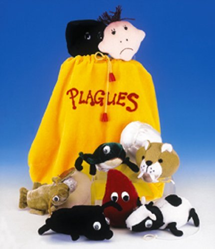 Adorable Set of Ten Plush Passover Plagues Representations, with Convenient Carrying Drawstring Bag - Passover Activity