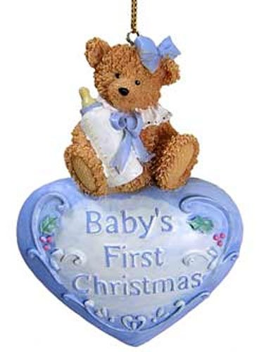 Baby 1st Christmas Ornaments Blue Heart [2464381B] (Northstar Ornament)