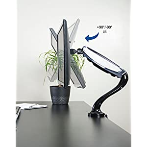 "VIVO Single LCD Monitor Desktop Mount Stand / Black Height Adjustable Deluxe Gas Spring Arm for 1 Screen up to 27"" (STAND-V001B)"