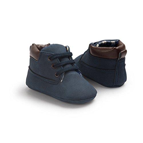 Leap Frog Classic T Tied Bootie - Zapatos primeros pasos de Ante para niño Azul