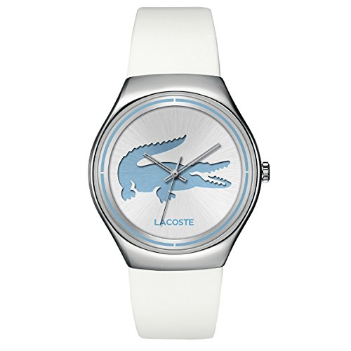 Lacoste Valencia Three-Hand Silver and White Leather Women's watch #2000839