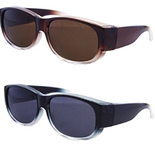 Two Tone Brown Plastic Sunglasses - 2 Pair Womens Colorful Two Tone Ombre Fit Over Sunglasses - Wear Over Prescription Glasses - Polarized, Anti-Glare - Over Glasses Size Medium in Black and Brown (2 Carrying Case Included)
