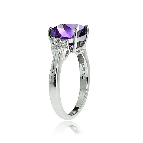 Ice Gems Sterling Silver African Amethyst and Cushion-Cut Ring