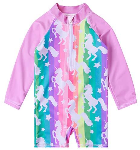 (Uideazone 12-18 Months Rainbow Unicorn Star Stripe Print Swimsuit Surfing One-Pieces Swimwear Beach Wear Gift for Toddler Girls)